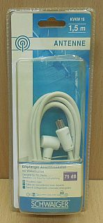 Schwaiger Antenne Empfänger Anschluss Kabel 1,5m Koax Stecker Winkelbuchse*so844