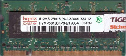 Hynix HYMP564S64P6-E3 AA-A PC2-3200 512MB DDR2 400MHz SODIMM RAM* lr132