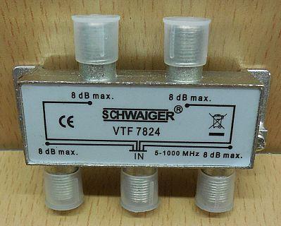 Schwaiger VTF 7824 SAT Verteiler 4 fach 1x In 4x Out Frequenzen 5-1000MHz* so864