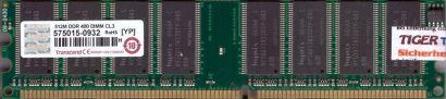Transcend PC-3200 512MB DDR1 400MHz CL3 Arbeitsspeicher DDR RAM* r727