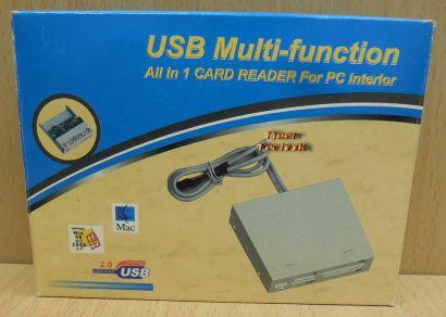3,5 Multi Slot 14 in 1 USB Kartenleser Computer PC schwarz silber beige NEU*kl49