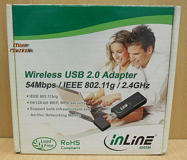 Inline 40058I USB2.0 WLAN Stick Wireless Adapter 54Mbps 802.11 b g WPA WEP* nw80