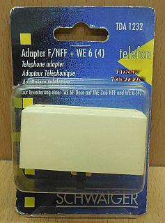 Schwaiger TDA1232 Telefon Adapter TAE F NFF +RJ11 für Telefon&Zusatzgeräte*so877