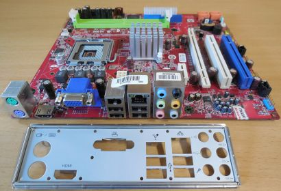MSI MS-7366 Ver 2.2 Mainboard + Blende Sockel 775 VGA HDMI SATA DDR2 Audio* m959