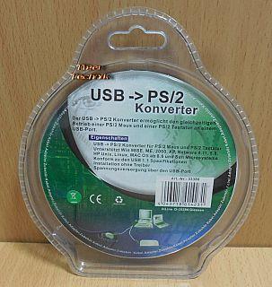 InLine USB zu PS 2 Konverter USB Stecker zu 2x PS 2 Buchse Maus Tastatur* pz818