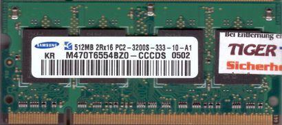 Samsung M470T6554BZ0-CCCDS PC2-3200 512MB DDR2 400MHz SODIMM RAM* lr135