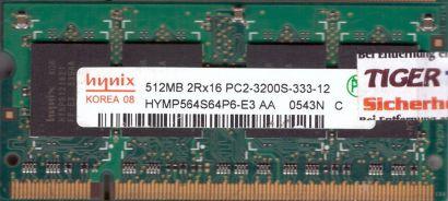Hynix HYMP564S64P6-E3 AA PC2-3200 512MB DDR2 400MHz SODIMM RAM* lr136
