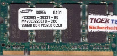 Samsung M470L3223ET0-CCC PC-3200 256MB DDR1 400MHz SODIMM RAM* lr139