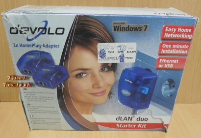 devolo dlan Duo Starter Kit 2x Homeplug Adapter USB Ethernet Windows 7* nw88