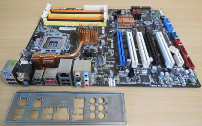 Asus P5KC Rev 1.03G Mainboard +Blende Sockel 775 Intel P35 DDR2 DDR3 PCIe* m966