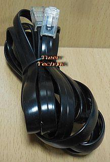 Telefon ISDN DSL Flachkabel 3m 8 adrig gerader Anschluss schwarz RJ45 8P8C*pz827