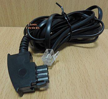 Telefonkabel 3m Länge TAE F Stecker RJ11 Stecker schwarz analog* so909