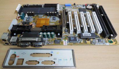 Gigabyte GA-6BXE Rev 1.9 Mainboard +Blende Slot 1 AGP USB 2x ISA 4x SDRAM* m990