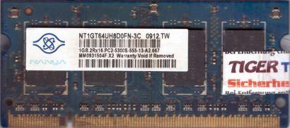Nanya NT1GT64UH8D0FN-3C PC2-5300S 1GB DDR2 667MHz SODIMM RAM* lr140
