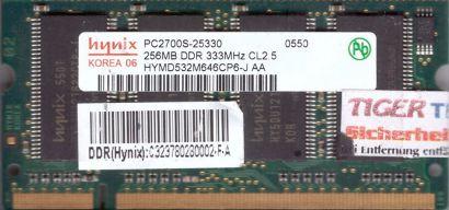 Hynix HYMD532M646CP6-J AA PC-2700 256MB DDR1 333MHz SODIMM Arbeitsspeicher*lr141