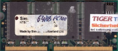 Siemens PC100 64MB SDRAM 100MHz SODIMM SD RAM Arbeitsspeicher* lr142