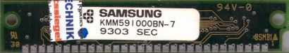 Samsung KMM591000BN-7 1MB SIMM 30 pin Parity KM44C1000BJ-7 Arbeitsspeicher* r769
