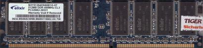 Elixir M2Y51264DS88B1G-5T PC-3200 512MB DDR1 400MHz CL3 Arbeitsspeicher RAM*r781