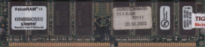 Kingston KVR400X64C25 512 PC-3200 512MB DDR1 400MHz 9905201-005 A00 RAM* r783