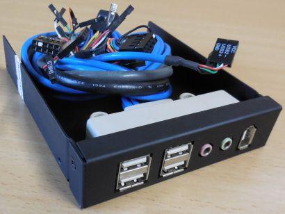 PC 3,5 Zoll Einbauschacht 4x USB2.0 FireWire Audio Front Panel schwarz* pz848