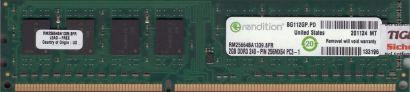 rendition RM25664BA1339 8FR PC3-10600 2GB DDR3 1333MHz Arbeitsspeicher RAM* r788