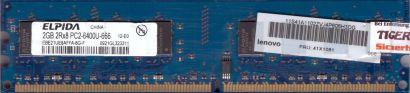 Elpida EBE21UE8AFFA-8G-F PC2-6400 2GB DDR2 800MHz Lenovo 41X1081 RAM* r828